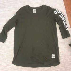 "Dark green ""pink"" shirt"